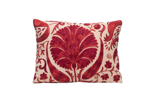red suzani cushion