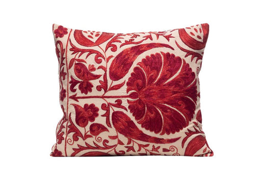 Poppy Wizard Silk Suzani Cushion Double Sided Ikat