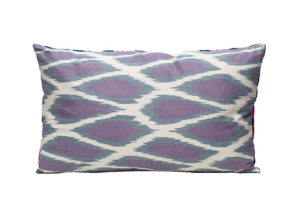 Purple Bunch Red Flowers Silk Suzani Cushion Double Sided Ikat