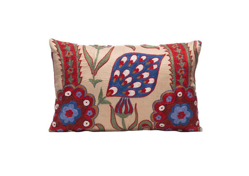 Saffron Field Silk Suzani Cushion Double Sided Ikat