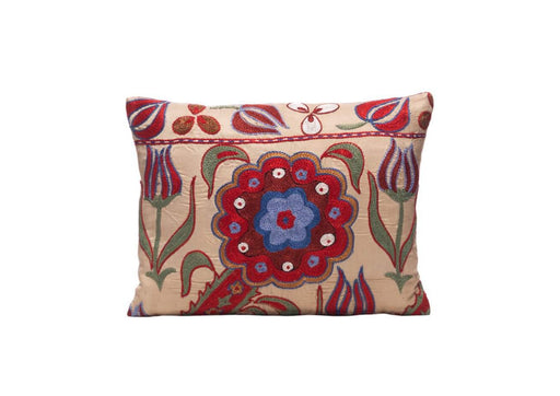 Saffron Flower Silk Suzani Cushion Double Sided Ikat