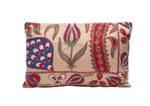 Saffron Harvest Silk Suzani Cushion Double Sided Ikat