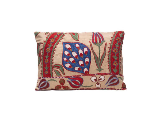 Saffron Leaf Silk Suzani Cushion Double Sided Ikat