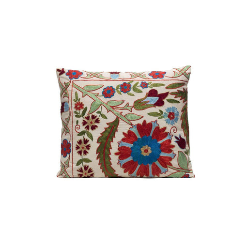 Sage Leaves Silk Suzani Cushion Double Sided Ikat