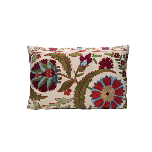 Sage Scarlett Silk Suzani Cushion Double Sided Ikat