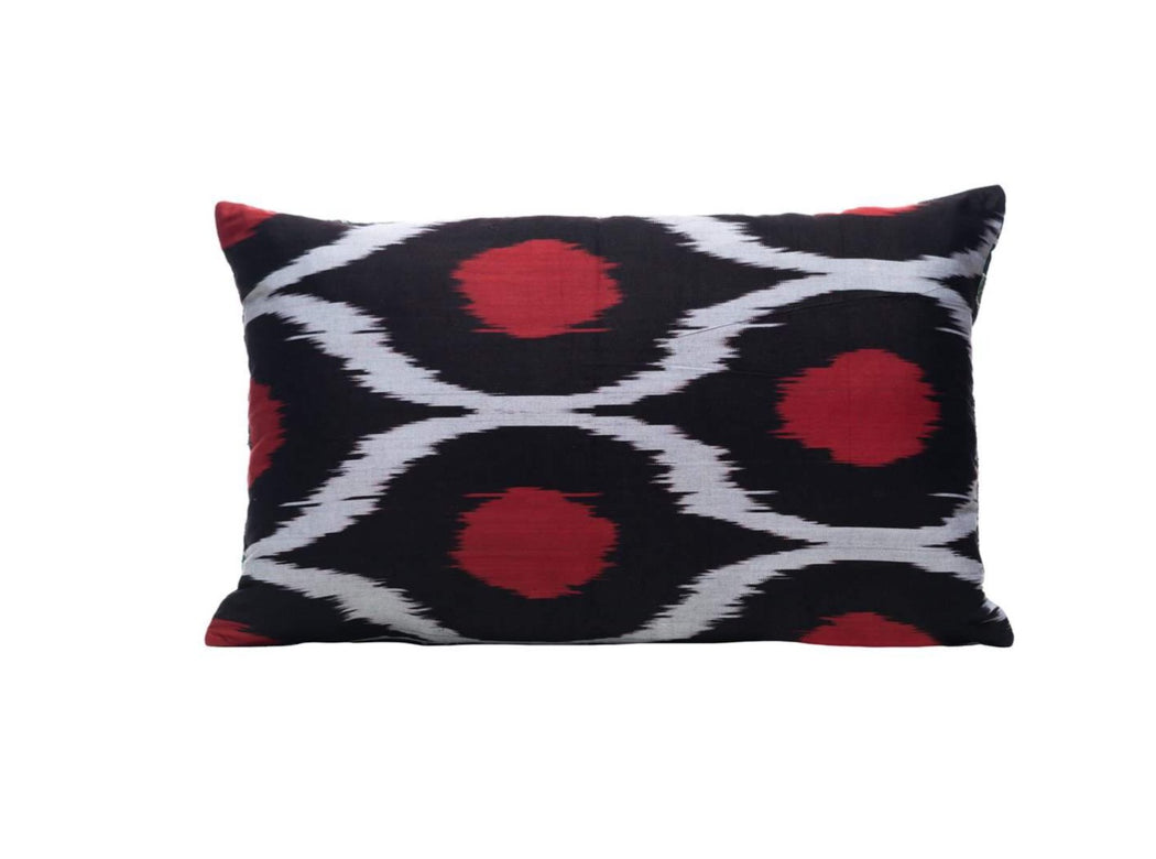 Pomegranate Schrub Silk Suzani Cushion Double Sided Ikat