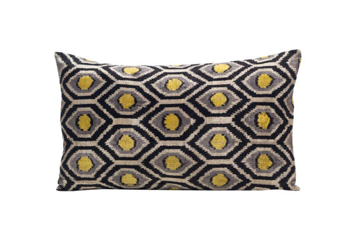Silk Tassel Velvet Cushion Double Sided Ikat