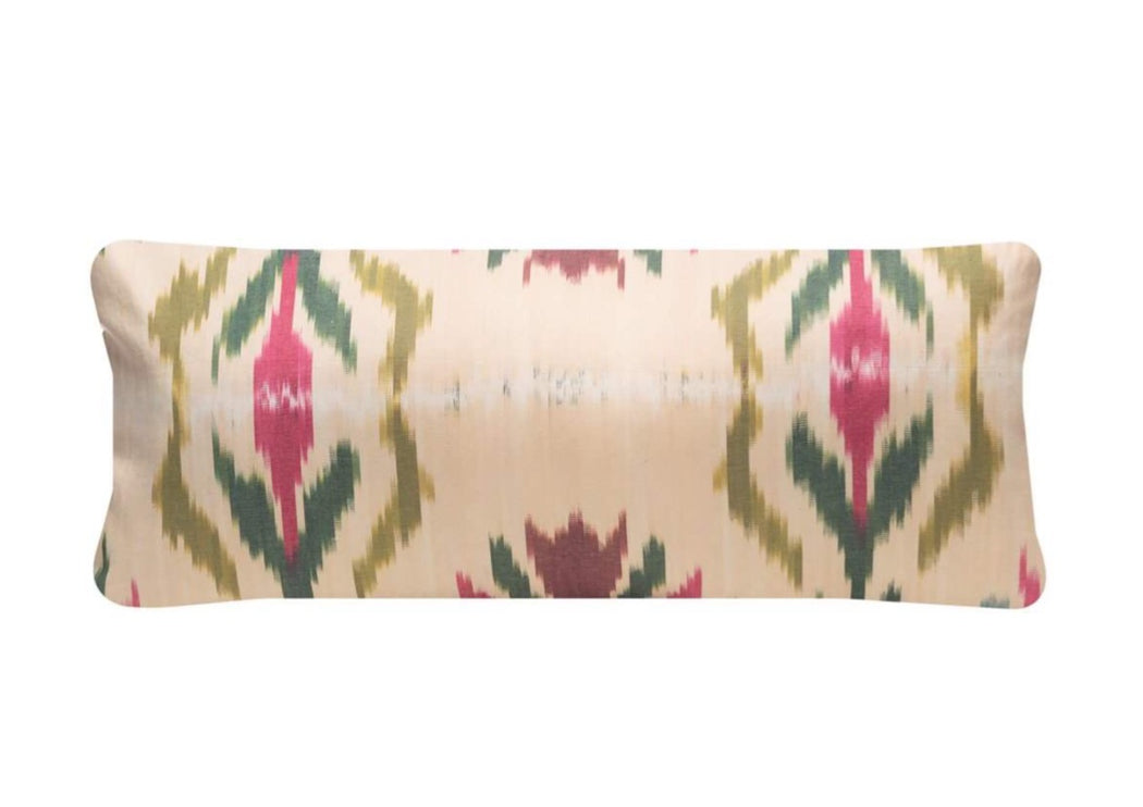 green ikat cushion