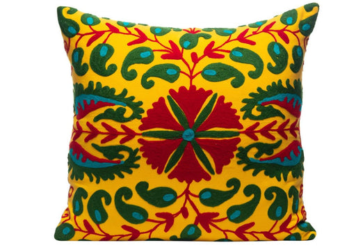 Sunflower Disk Silk Suzani Cushion Double Sided Ikat