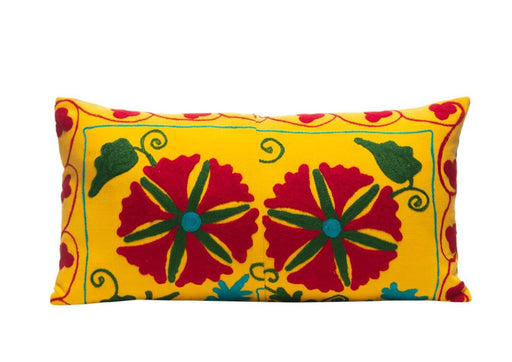 Sunflower Duo Silk Suzani Cushion Double Sided Ikat