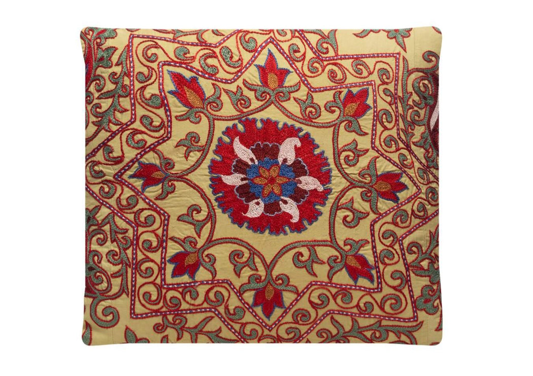 Thistle Crown Silk Suzani Cushion Double Sided Ikat