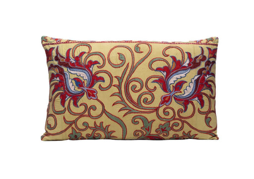 beige embroidered suzani cushion