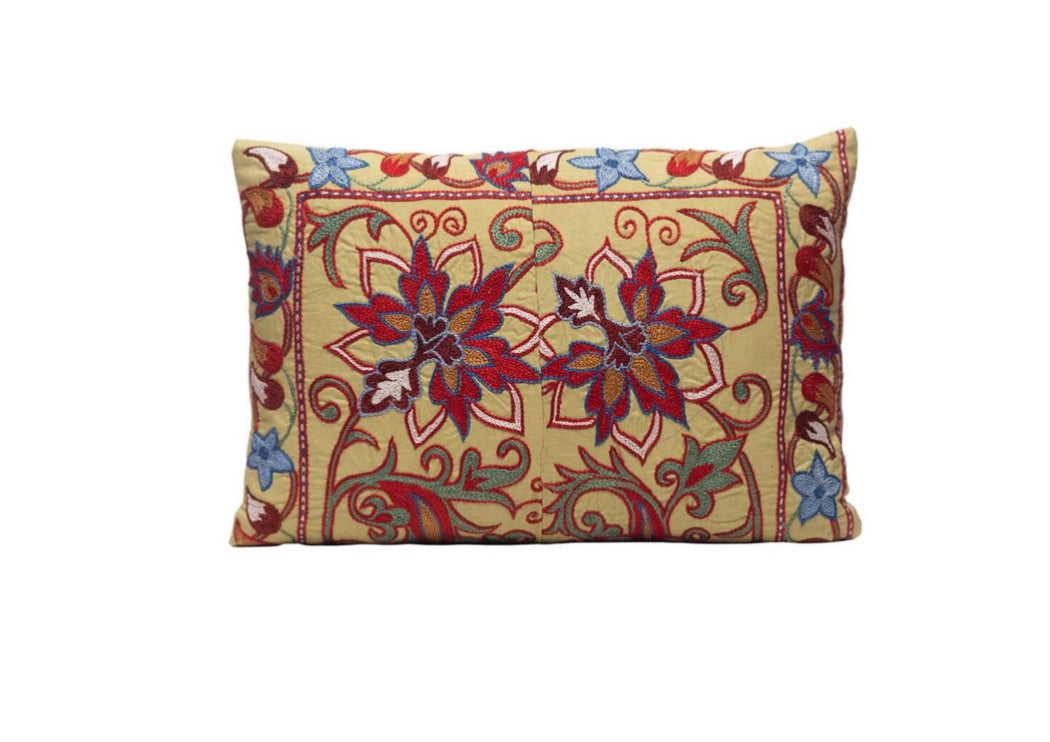Thistle Seed Silk Suzani Cushion Double Sided Ikat