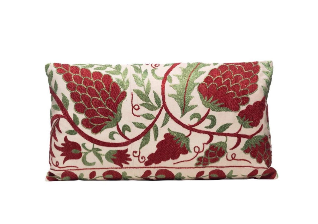 red and green suzani cushion