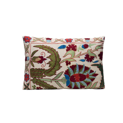 Sage White Silk Suzani Cushion Double Sided Ikat