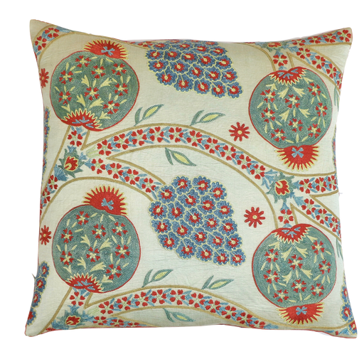 Green Pomegranate Design Silk Suzani Cushion - Heritage Geneve