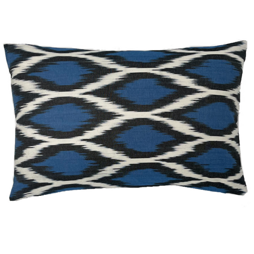 Silk Ikat blue white black multicolor heritagegeneve design