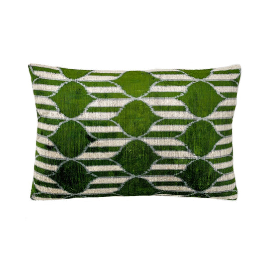 Velvet cushion cover silk green white