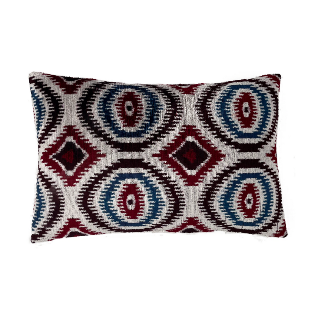 Velvet ikat double sided duck feather filled cushion cover