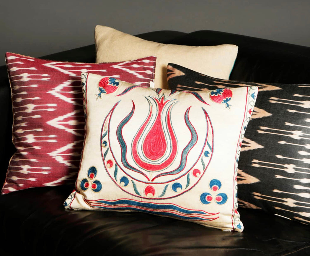 Suzani Embroidered Silk  Cushion - Heritage Geneve