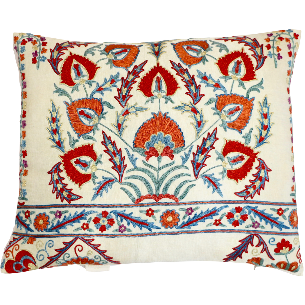 Winter Aconite Flower Design Silk Suzani Cushion - Heritage Geneve