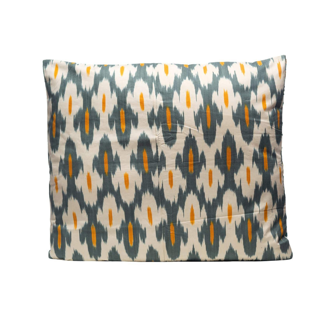 large square blue ikat cushion