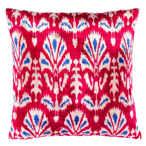 Red & Blue Tulip Silk Velvet Cushion - Heritage Geneve