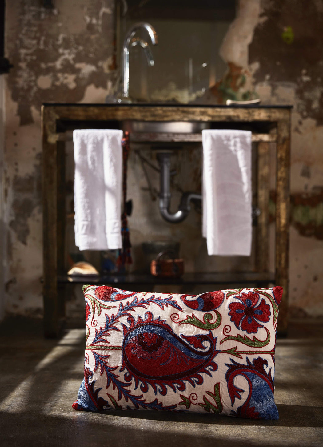 Hagia Sophia Isidore Suzani Cushion Double Sided With Ikat - Heritage Geneve