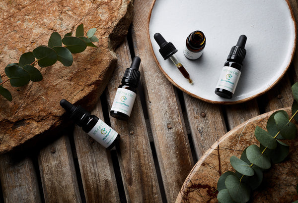 A range of high strength CBD OIL products displayed