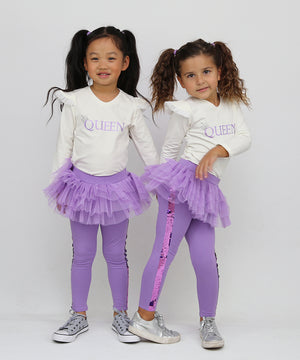 Sequin Lilac Tutu Leggings
