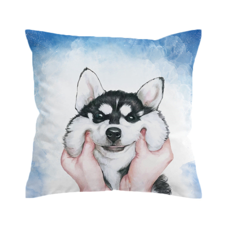 Husky Puppy Cushion Cover Pillow Case Square Throw Cover for Kids Decorative Pillow Cover