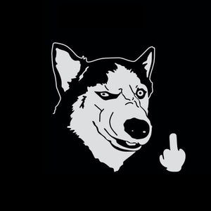 Siberian Husky Car Stickers - Funny Cool Serious Husky Dog Flipping Finger