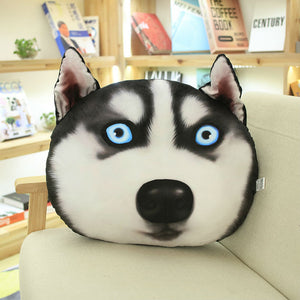 3D Funny Husky Dog Head Plush Pillow