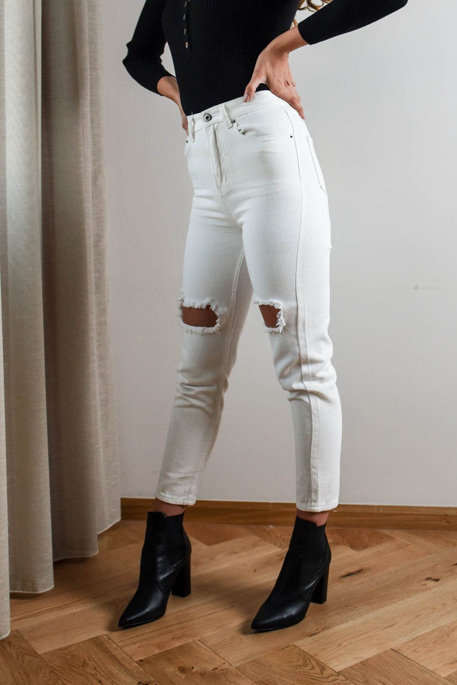 Demi White Ripped Jeans Bottoms The Lust Label