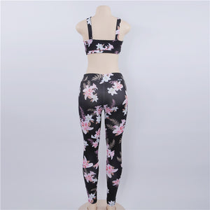 Floral Printed Yoga Bra & Leggings Sports Wear