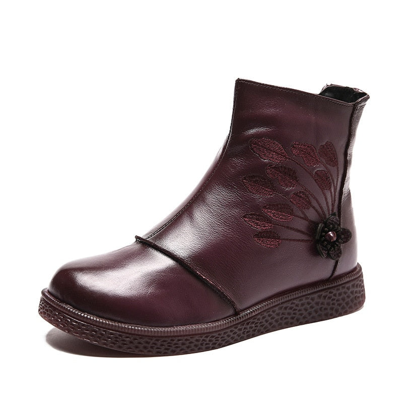 Genuine Leather Ankle Boots for Women