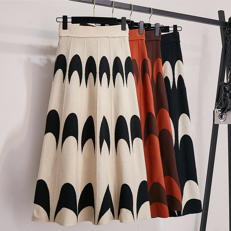 Moon Print High Waist Elastic Midi Skirts