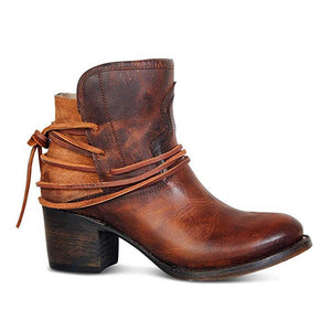 Women's  Faux Leather Rope Lace Ankle Boots