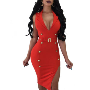 Women Neckline Split Dress