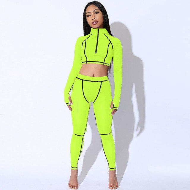 Long Sleeve Cropped Top Fitness Suit