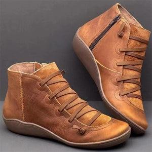 Women's Cross Strap Vintage Plush Punk Shoes