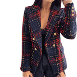 Women Plaid  Double Breasted Slim Office Blazer