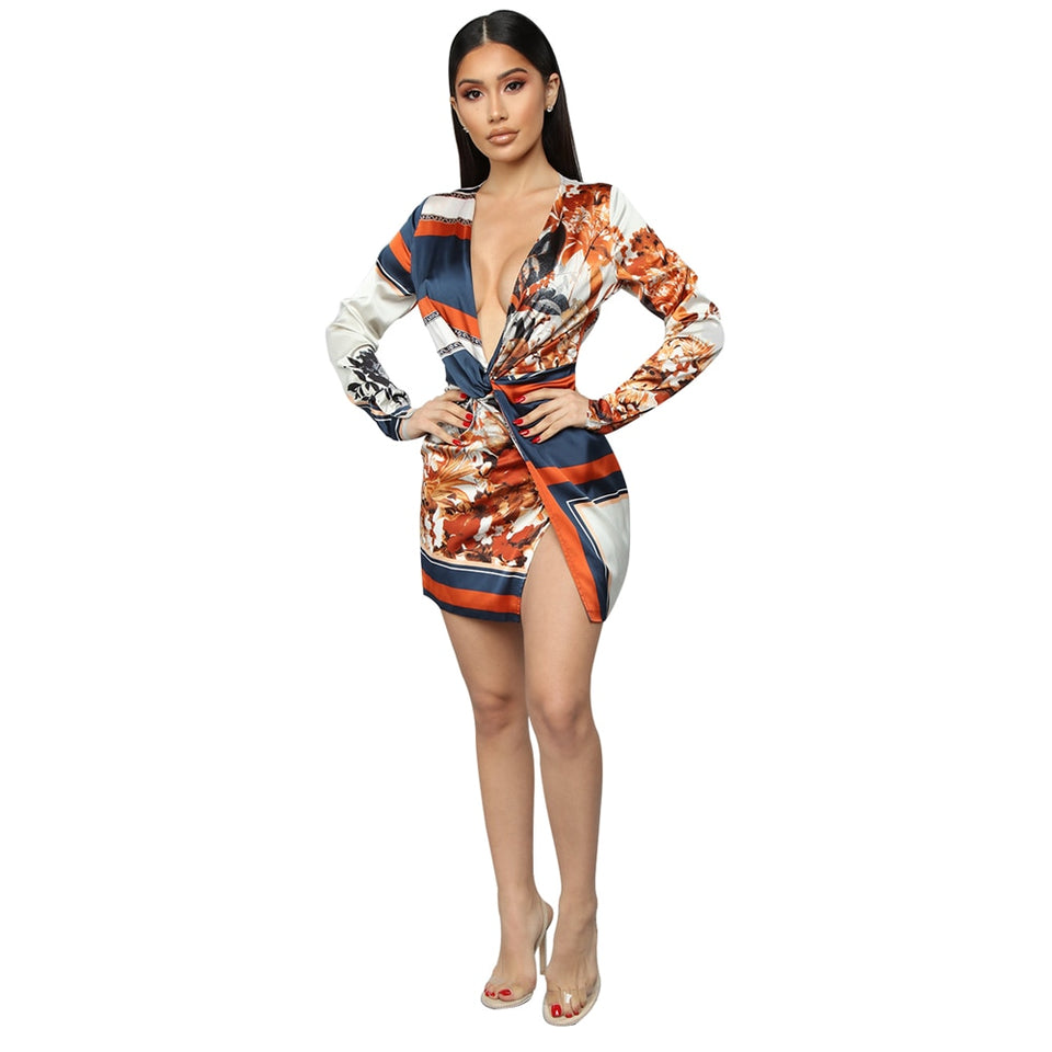 Women's Fashion Printed Sexy V-neck Mini Dress