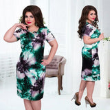 Women's Plus Size Print Flower Straight Casual Dress