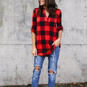 Sexy Casual Plaid Loose Blouses