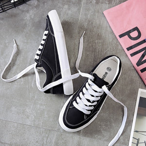 Women Sneakers - White and Black Lace-Up Canvas Shoes Fashion 2019