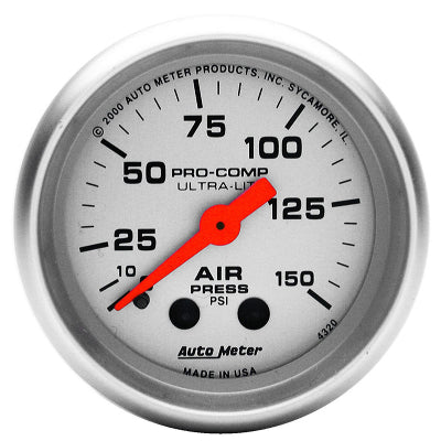 AUTO METER  ULTRA-LITE SERIES AIR PRESSURE GAUGE 2-1/16