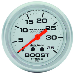 "AUTO METER  ULTRA-LITE SERIES BOOST GAUGE 2-5/8"", Full Sweep Mechanical, 0-35 psi  (AU4404)"