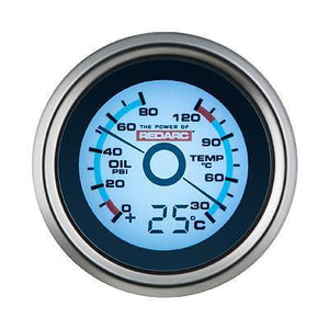 REDARC OIL PRESSURE & WATER TEMPERATURE 52MM GAUGE WITH OPTIONAL TEMPERATURE DISPLAY (G52-PWT)