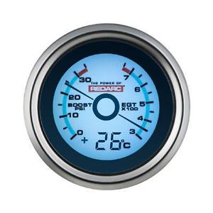 REDARC EGT & BOOST PRESSURE 52MM GAUGE WITH OPTIONAL TEMPERATURE DISPLAY (G52-BET)